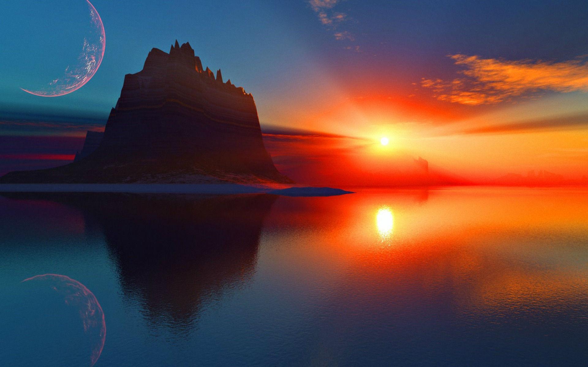 Fonds d 39 cran coucher de soleil maximumwall - Fond ecran coucher de soleil sur la mer ...